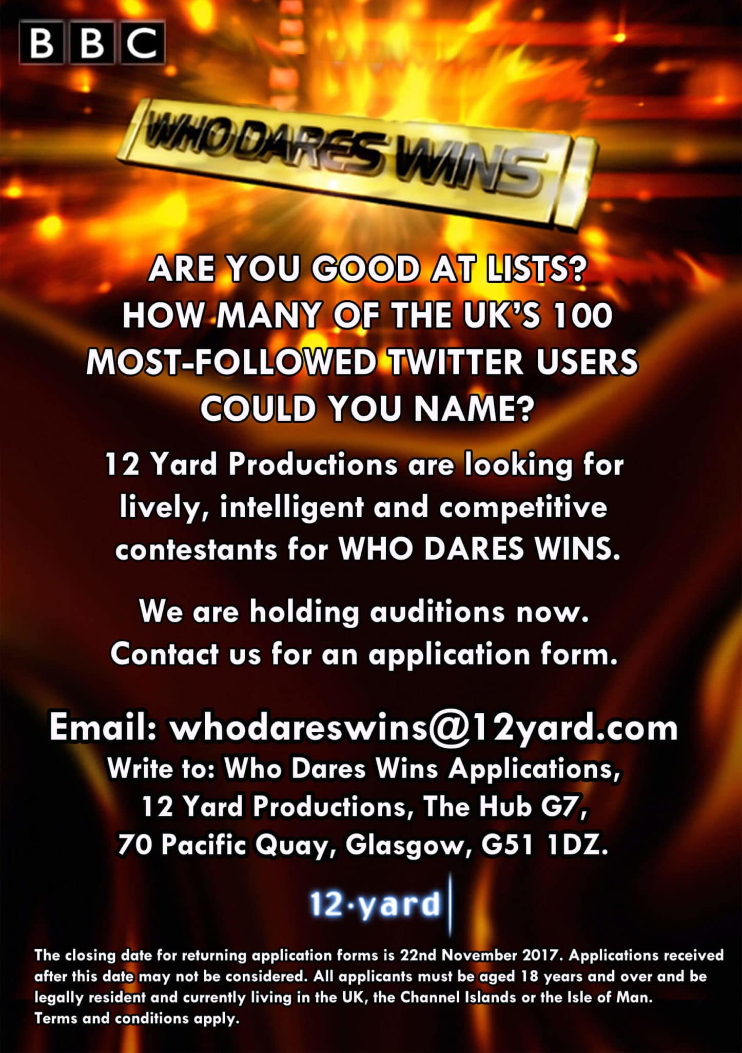 Who Dares Wins S11 Flyer - Supressed 2017