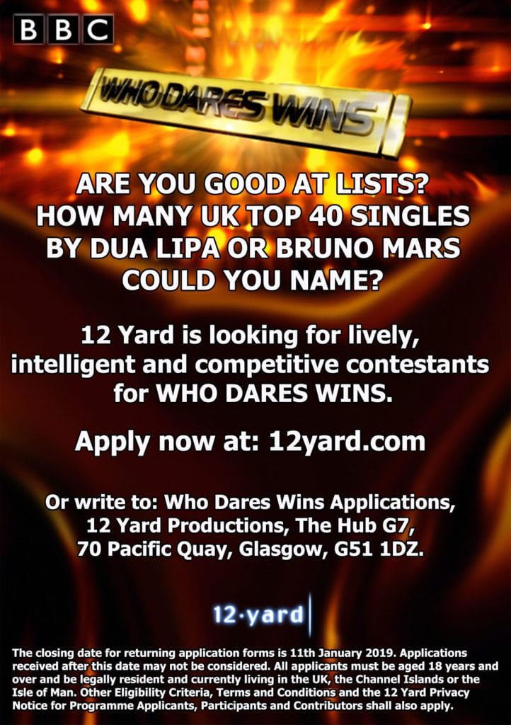 Who Dare Wins Series 12 are looking for contestants